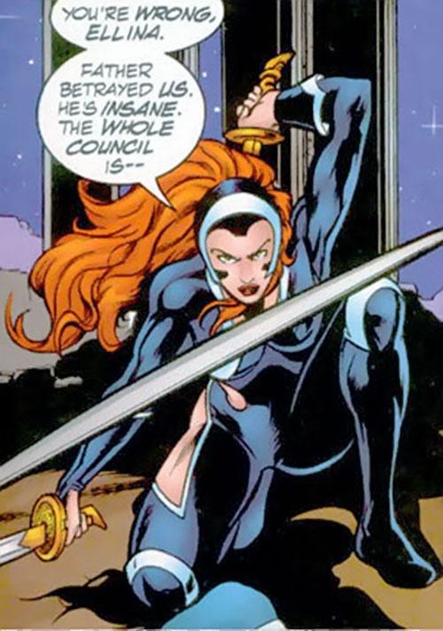 Nemesis (Soseh Mykros) (JSA character) (DC Comics) crouching