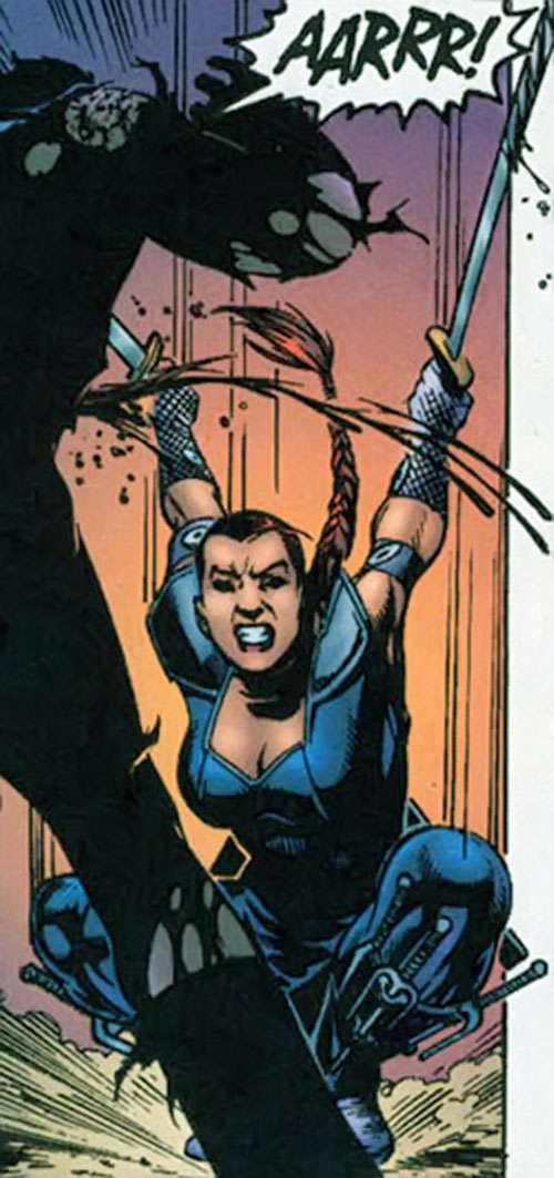 Nemesis (Soseh Mykros) (JSA character) (DC Comics) slashing with paired swords