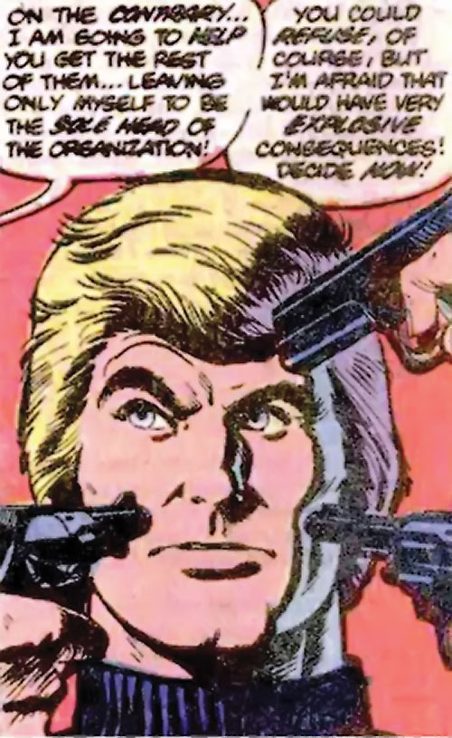 Nemesis (Tresser) (Pre-Crisis DC Comics Brave Bold) with pistols pointed at his face
