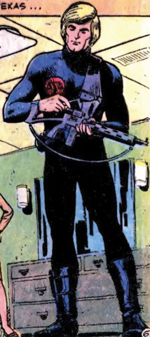 Nemesis (Tresser) (Pre-Crisis DC Comics Brave Bold) with a submachinegun