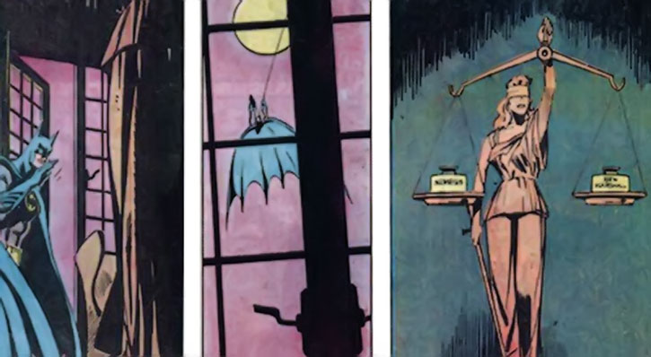 Nemesis (Thomas Tresser)'s justice statue balanced by Batman