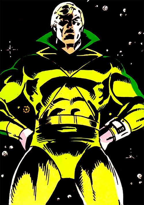 Nemesis Kid (Legion of Super-Heroes enemy) over a field of stars