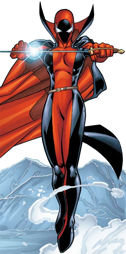 Nemesis (Alpha Flight character) (Marvel Comics) floating over ice