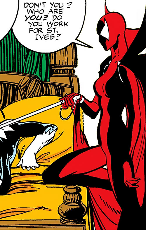 Nemesis (Alpha Flight character) (St. Ives) (Marvel Comics) and a bed