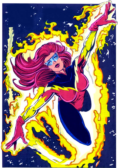 New Warriors (Marvel Comics) (Team Profile #2) Firestar red and black costume