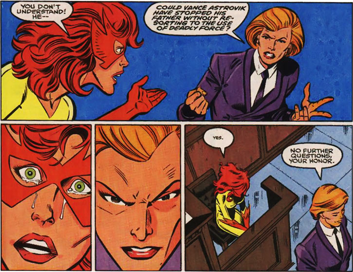 New Warriors (Marvel Comics) (Team Profile #2) Firestar grilled lawyer