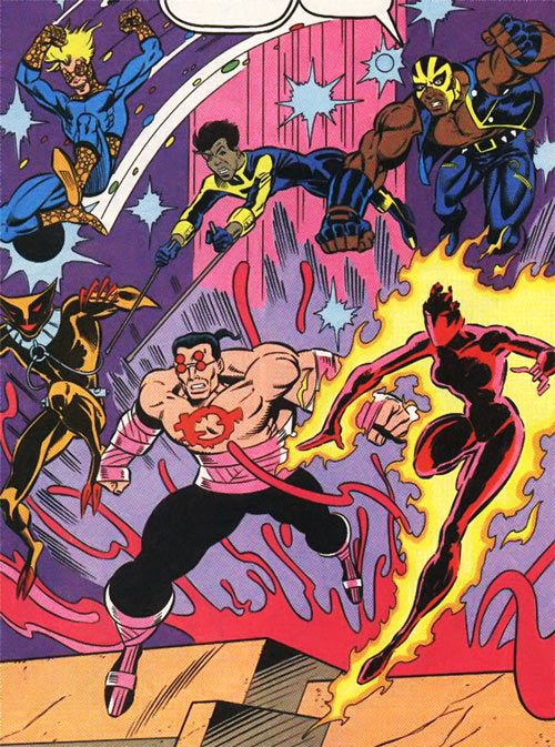New Warriors (Marvel Comics) (Team Profile #2) battle at the well of all things