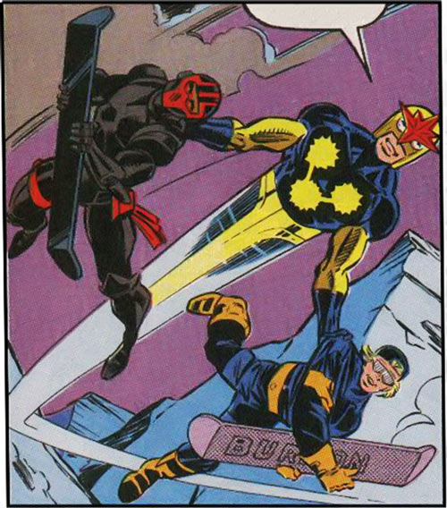 New Warriors (Marvel Comics) (Team Profile #2) Nova flying with Thrasher and Speedball with snowboards