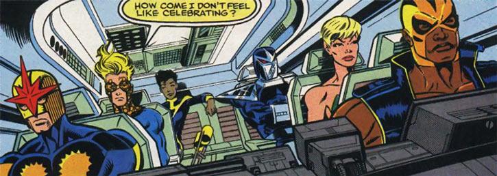 New Warriors (Marvel Comics) (Team Profile #2) in stolen Quinjet
