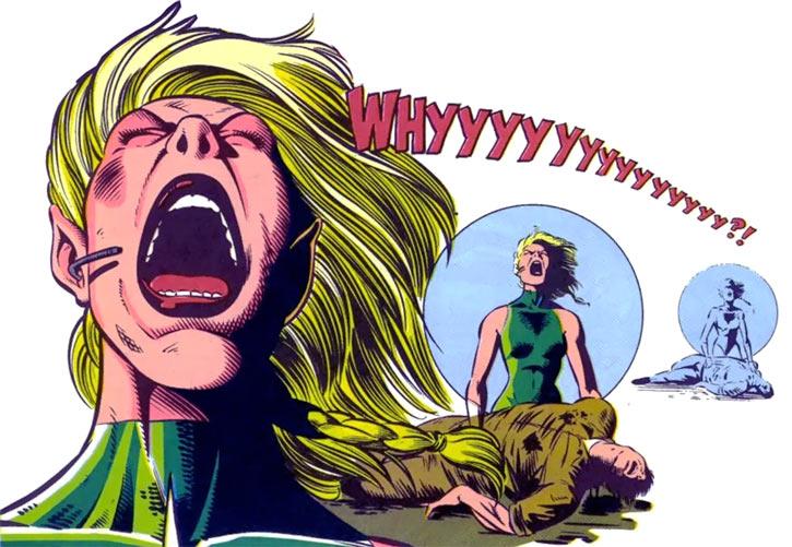 New Warriors (Marvel Comics) (Team Profile #2) Namora yelling in Trans-Sabal