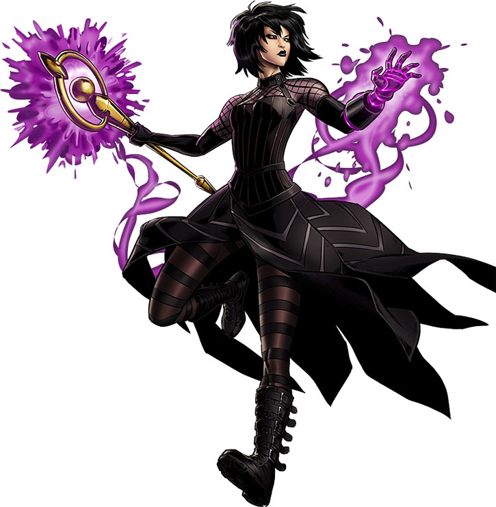 Nico Minoru (Sister Grimm) in Goth-ish attire, flying over a white background