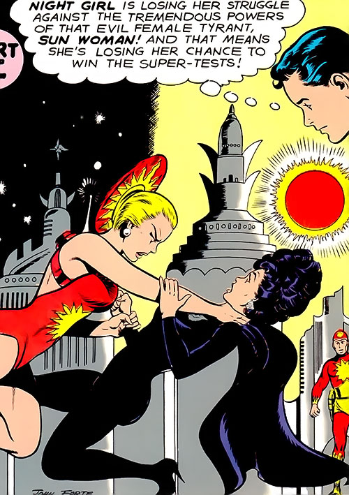 Night Girl of the Legion of Super-Heroes (DC Comics Silver Age) vs. Sun Woman