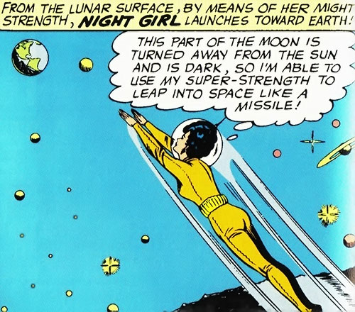 Night Girl of the Legion of Super-Heroes (DC Comics Silver Age) leaps into space in a vacuum suit