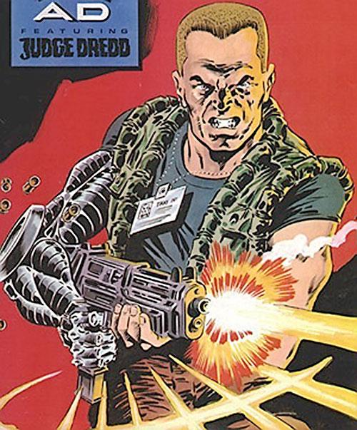 Night Zero (Tanner) (2000AD comics) shooting a submachinegun