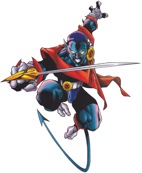 Nightcrawler of Excalibur with a buzzcut and a sword