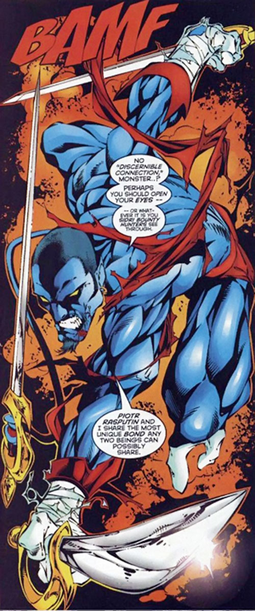 Nightcrawler of Excalibur (Marvel Comics) with a buzzcut and three swords
