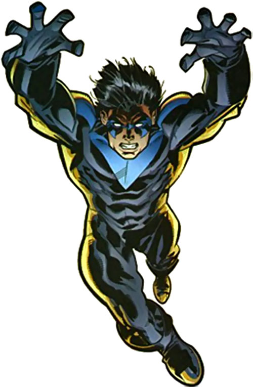 Nightwing leaping over a white background