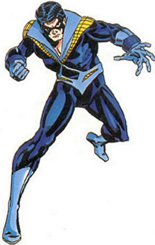 Nightwing in his Titans costume