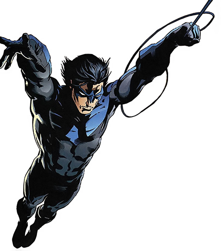 Nightwing (Dick Grayson) using a swingline, over a white background