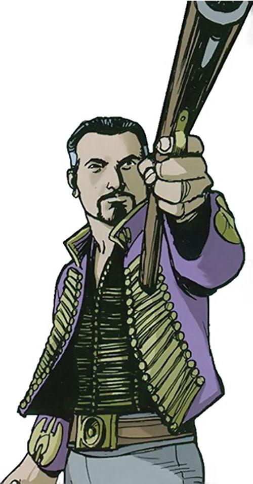 Nikolai Dante (2000AD comics) aiming a gun one-handed