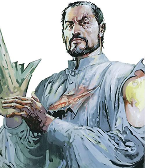 Nikolai Dante (2000AD comics) in a torn white shirt