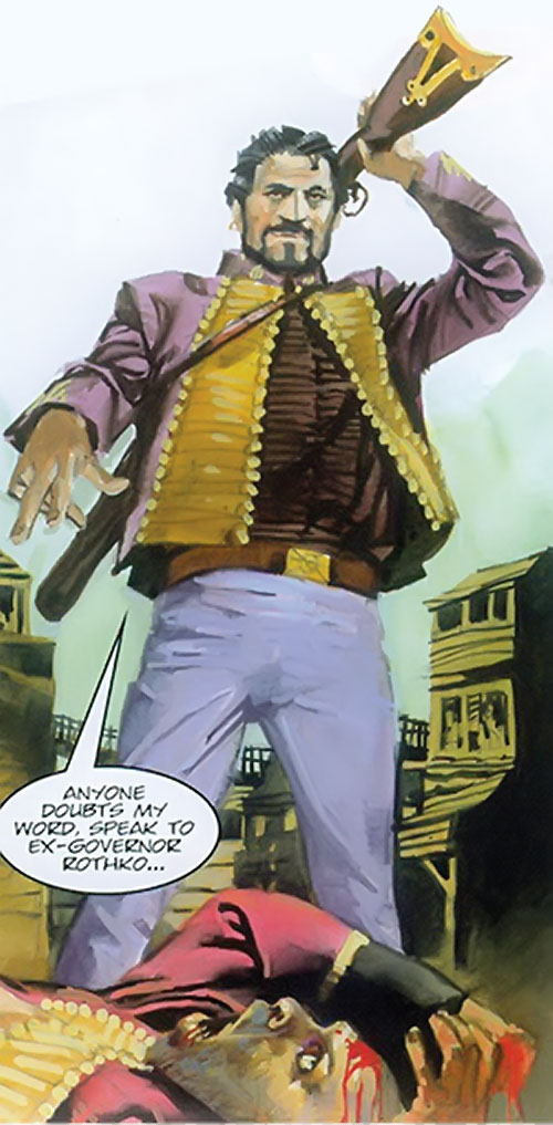 Nikolai Dante (2000AD comics) putting a rifle back in a back holster