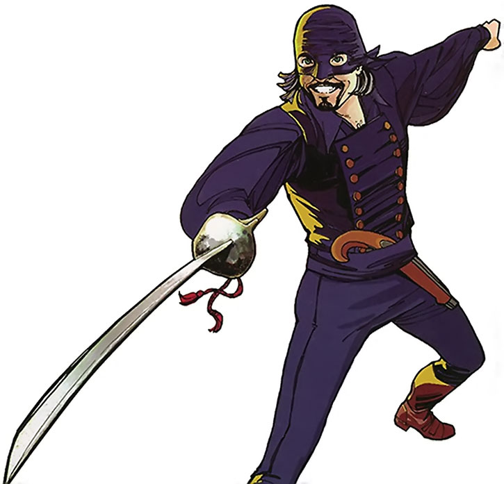 Nikolai Dante in a fencing stance, with his gentleman thief bandit mask