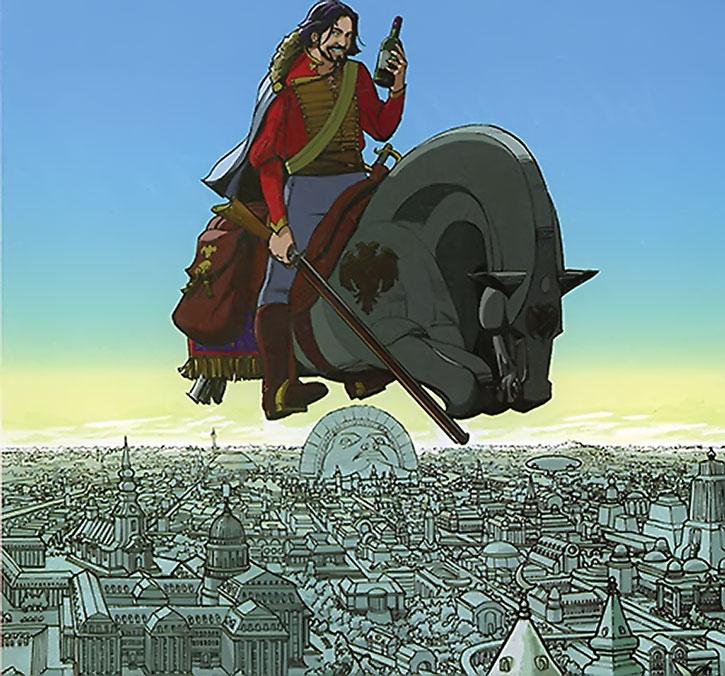Nikolai Dante over a metropolis, riding a horse-shaped flying bike