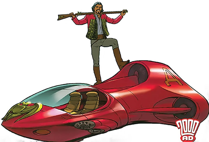 Nikolai Dante stands on a red flying car