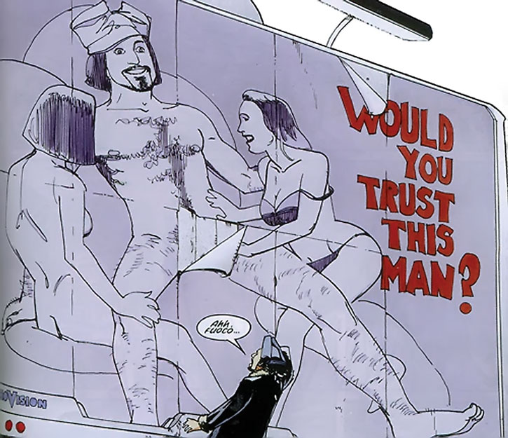 Nikolai Dante next to a billboard ridiculing him