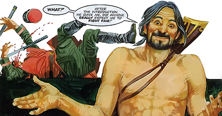 Nikolai Dante shoots a man armed with swords