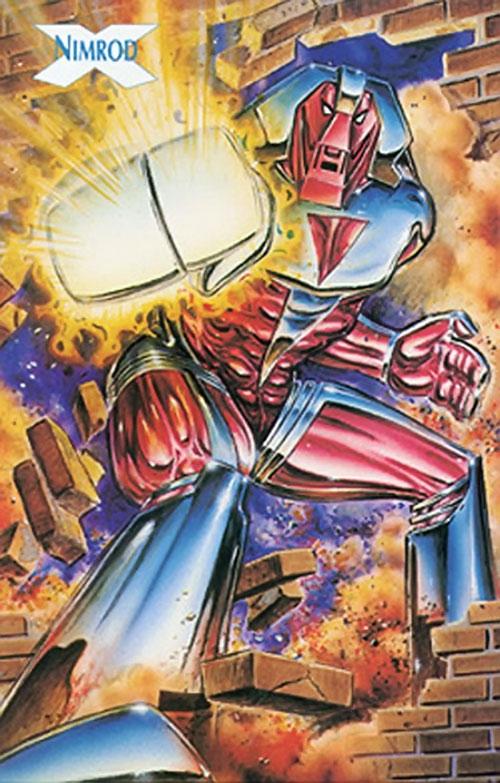 Nimrod the Sentinel (Marvel Comics) (X-Men enemy) bursts through a wall