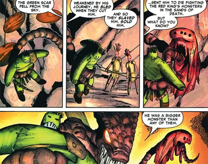 No-Name of the Brood does a hand-puppets show starring the Hulk
