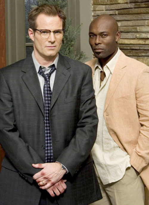Mister Bennet (Jack Coleman in NBC's Heroes) with the Haitian (Jimmy Jean-Louis)