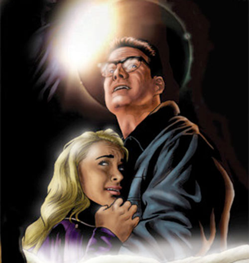 Drawing of Noah Bennet holding Claire (Heroes)