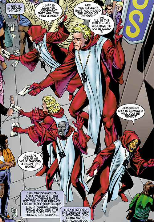 Noah and the Crossbreed (Astro City comics) street preaching