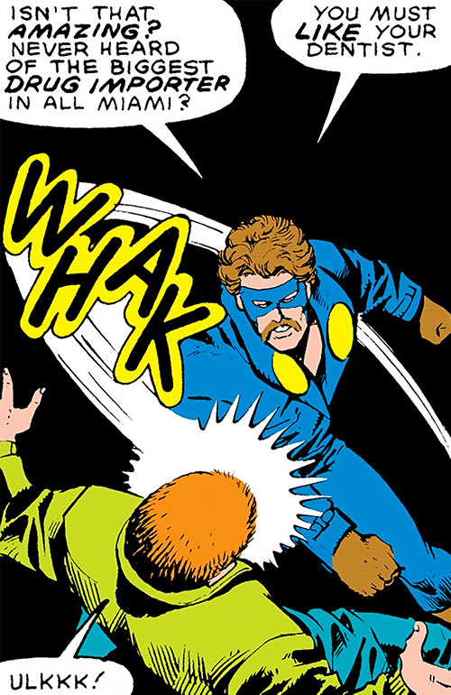 Nomad (Early) (Jack Monroe) (Captain America ally) (Marvel Comics) punching a man and wearing a mustache