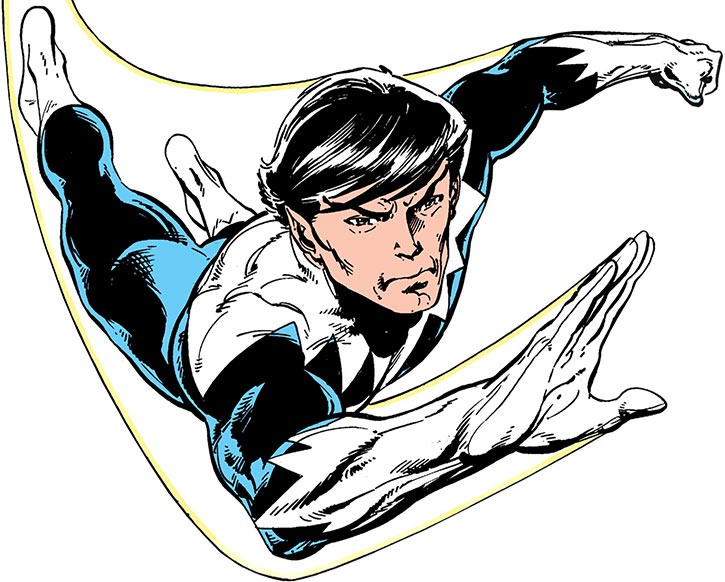 Northstar (Jean-Paul Beaubier) flying, over a white background