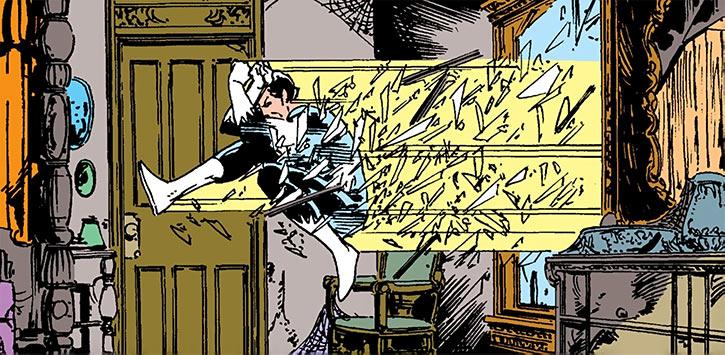 Northstar (Jean-Paul Beaubier) crashes through a window
