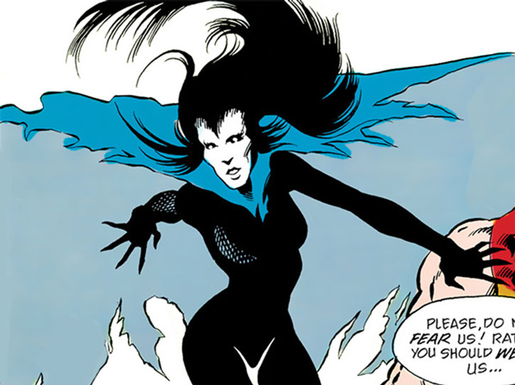 Nox of the New Olympians (DC Comics) with her cape open