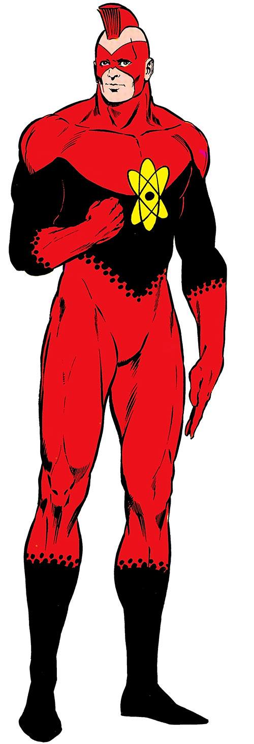 Nuklon of Infinity, Inc. (DC Comics) with fist vaguely raised