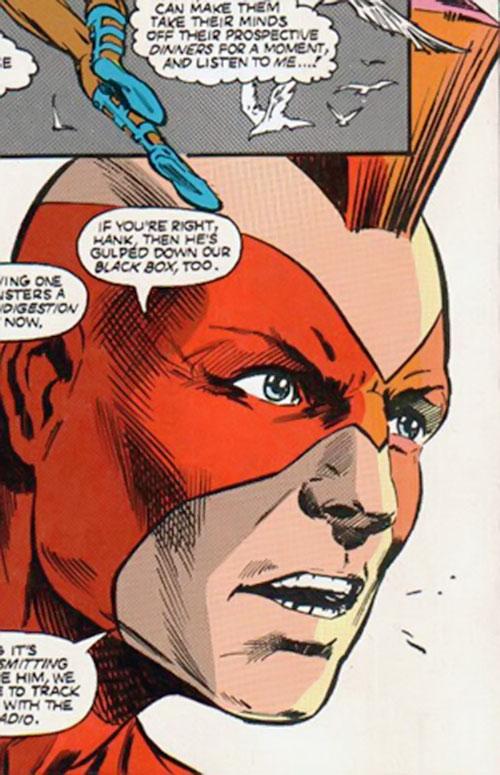 Nuklon of Infinity, Inc. (DC Comics) face closeup