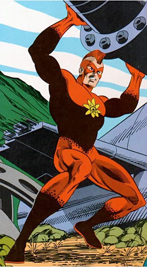 Nuklon of Infinity, Inc. (DC Comics) lifting large machinery