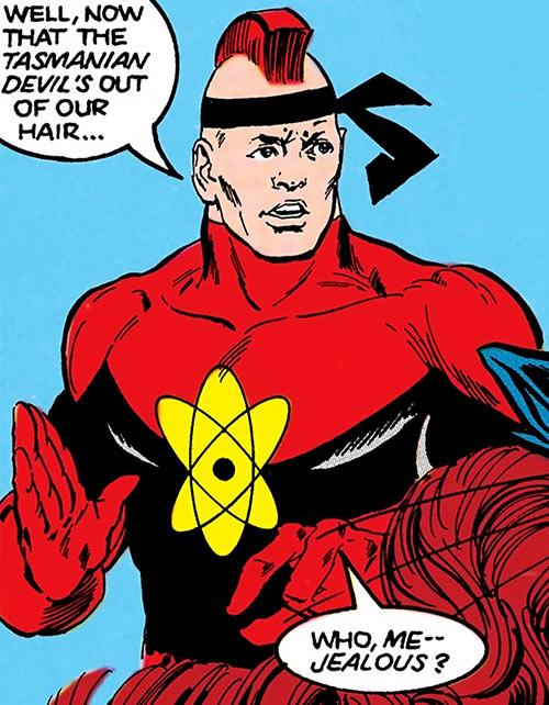 Nuklon of Infinity, Inc. (DC Comics) looking defensive