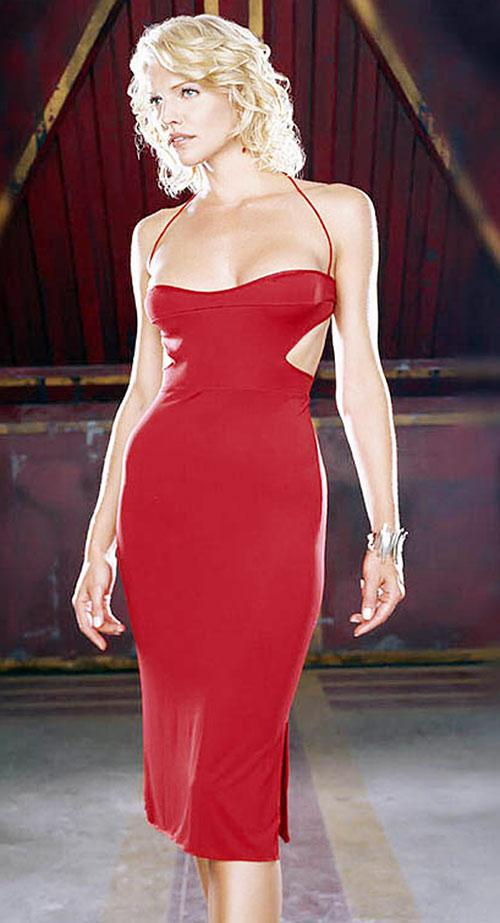 Number 6 (Tricia Helfer in Battlestar Galactica) in a red dress