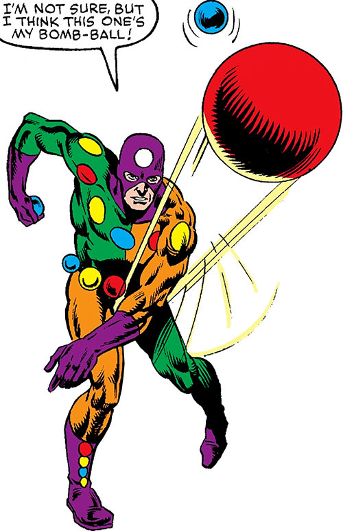 Oddball of the Death-Throws (Hawkeye enemy) (Marvel Comics) throwing a red ball