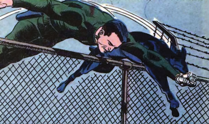 The paradog and Sarge Steel leap over a chain link fence