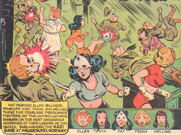 Pat Parker War Nurse and the Girl Commandos in a brawl with Nazi soldiers