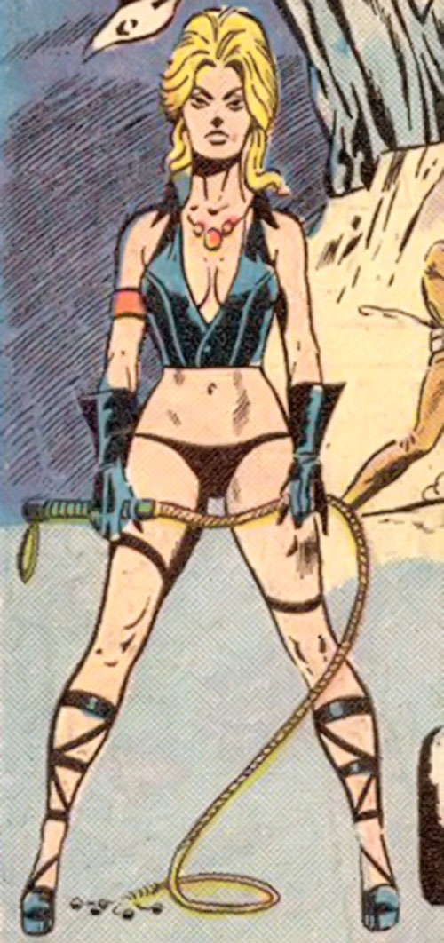Pavane (Master of Kung Fu enemy) (Marvel Comics) posing with her whip