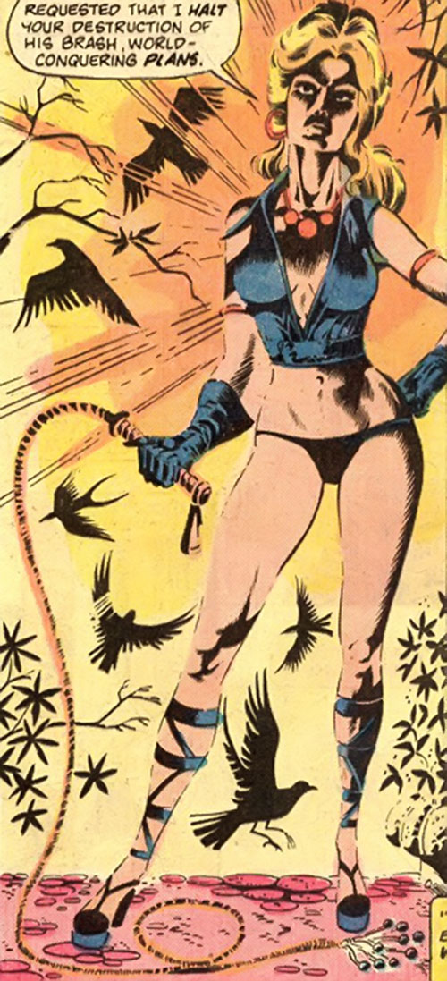 Pavane (Master of Kung Fu enemy) (Marvel Comics) against the sun, with birds